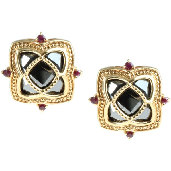 Dallas Prince Sterling Silver Hematite and Ruby Stud Earrings... ($130) ❤ liked on Polyvore featuring jewelry, earrings, black, ruby jewelry, hematite earrings, butterfly earrings, bezel set earrings and sterling silver earrings