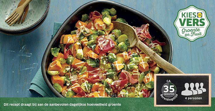 Recept voor Ovenschotel van zoete aardappel en spruitjes  #Lidl #ZoeteAardappel