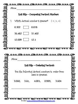 Thinking about using Exit Slips to bring closure to your math workshop this year? Try out this FREEBIE decimal numbers exit slips set and formatively assess your students daily to inform your instruction!