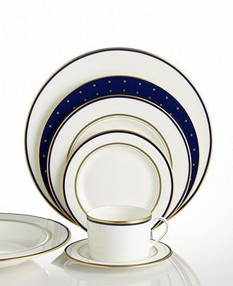 "kate spade new york ""Library Lane"" Navy Dinnerware Collection - Fine China - Dining & Entertaining - Macy's"
