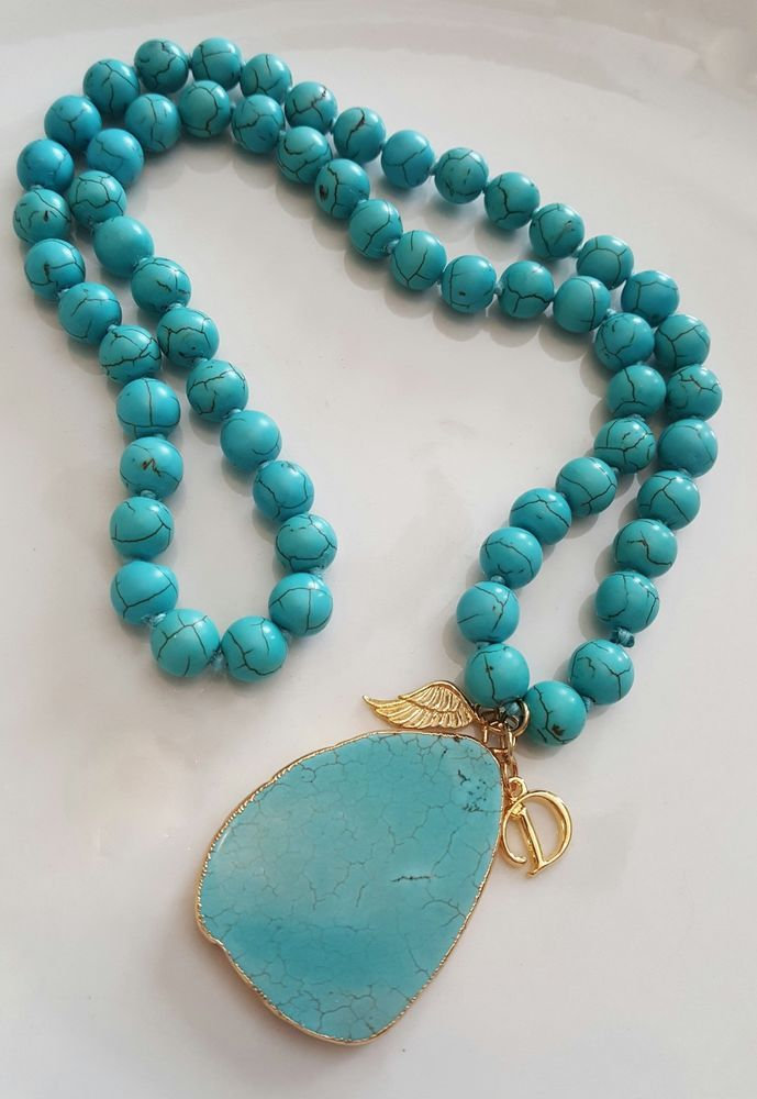 Handcrafted Jewelry Natural Turquoise Pendant & Necklace 24K Gold Plated