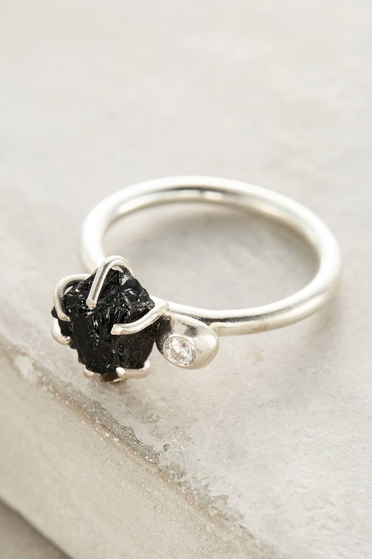 The mesmerizing, rugged black tourmaline brings a totally boho edge to this handcrafted engagement ring.