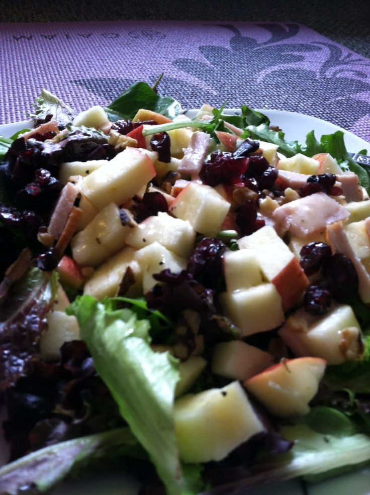 Apple, turkey, cranberry, and walnut salad with lemon vinegarette for ...