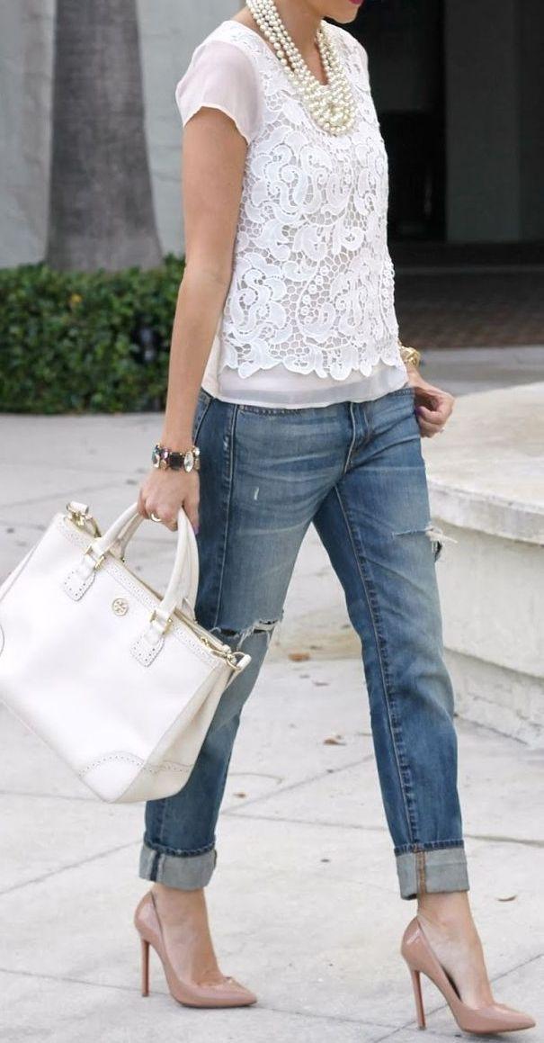 Lacey top + cropped boyfriend jeans