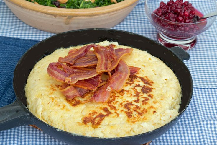 Äggakaga (sometimes called äggakaka) is a traditional dish from Skåne in southern Sweden. Although äggakaga translates as egg cake it is more like a thick pancake, but much fluffier.  Äggakaga is usually served as a main course. At one time it was popular with farm workers who would eat it cold for lunch, although these days most people prefer it hot straight from the pan. It is normally cut into wedges, topped with fried bacon and served with rårörda lingon (sweetened lingonberries).