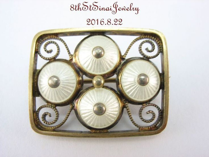 Estate Gilt Scandinavian Sterling Silver 925S White Guilloché Enamel Pin Sign M…