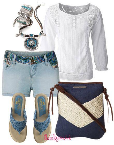 Pantaloni scurti din denim cu paiete colorate si macrameuri