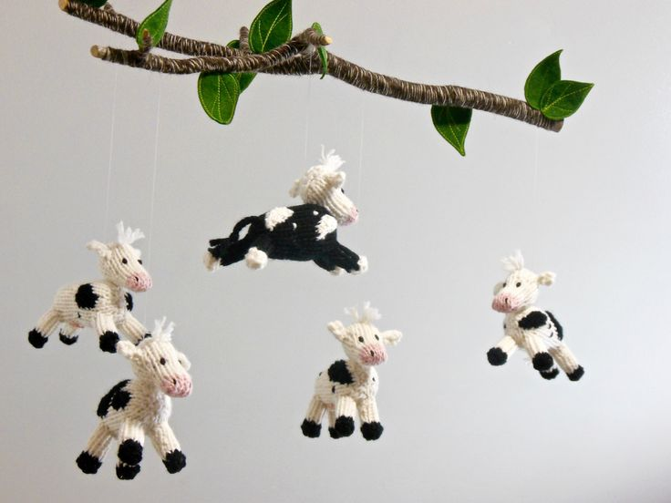 Cow Mobile, Cow Baby Mobile, Farm Barnyard Nursery, Boy Girl Baby Nursery, knit animal mobile, Black White Nursery, cow hanging crib mobile by SweetBauerKnits on Etsy