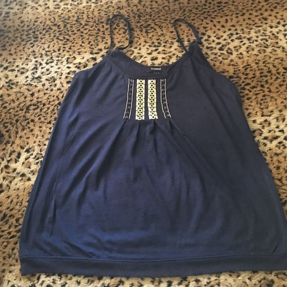 Gorgeous navy blue cami Light and pretty navy blue cami with gold design on front! Great for summertime Express Tops Camisoles