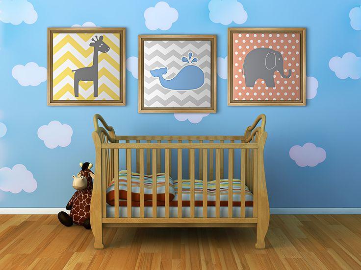 bebek odası kanvas tablo tasarım fikirleri fil zürafa balina geometrik beşik