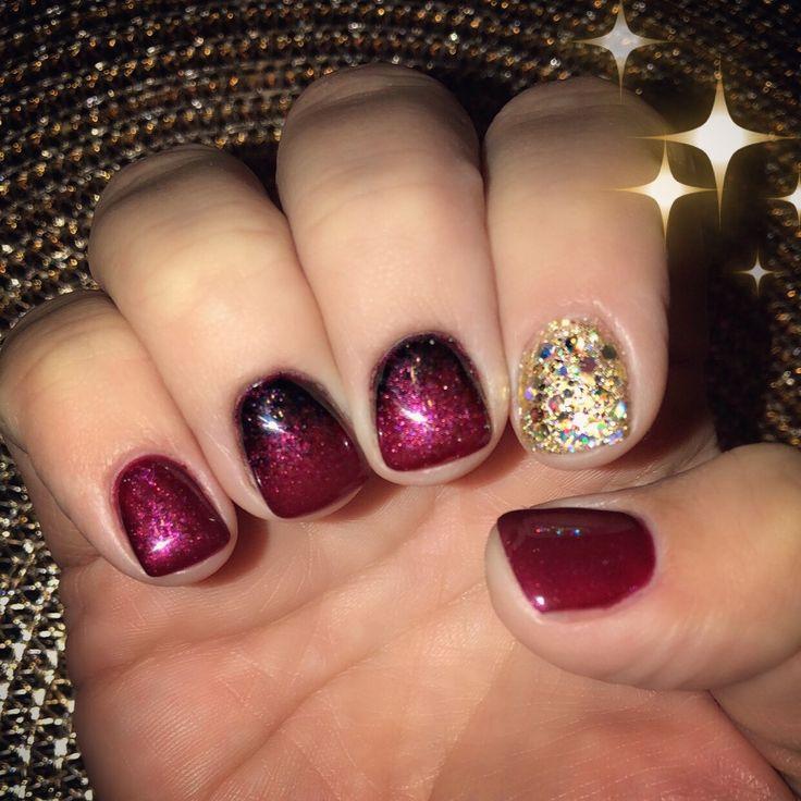 Burgundy black ombré gel manicure nail art gold glitter