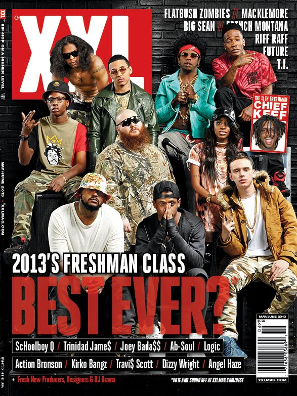 "XXL Freshman Class 2013  Schoolboy Q Trinidad Jame$ Joey Bada$$ Ab-Soul Logic Action Bronson Kirko Bangz Travi$ Scott Dizzy Wright – 10 Spot People's Champion Winner Angel Haze Chief Keef – ""The 11th Freshman"""