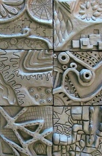 Art Challenge: Create a ceramic relief tile inspired by shapes and forms from your collages. Utilizes the elements and principles of design in the relief tile. Steps: Create ceramic tile using...