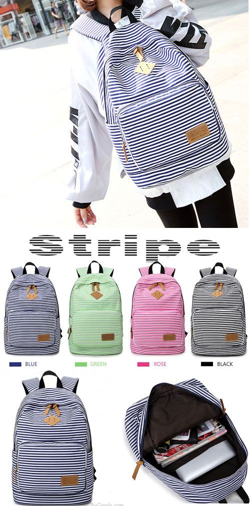 Wow~ I want to get this Stripe High School Bag Rucksack Trunk Student Travel Canvas Backpack! #school #backpack #bag #canvas #student #rucksack #stripe