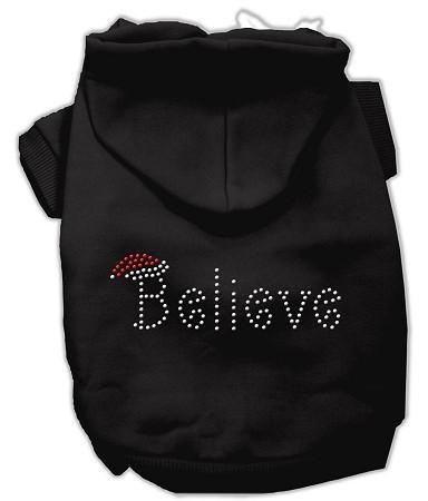 Believe Christmas Hoodie for Dogs Black/Medium