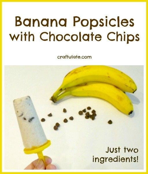 Banana Popsicles with Chocolate Chips - just two ingredients!!