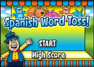 Spanish on-line vocabulary games for levels 1 and 2 - Topics: Animals, Colors, Transportation, People (Family relationships), etc.