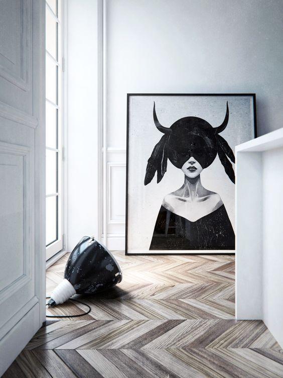 Grand tableau noir et blanc