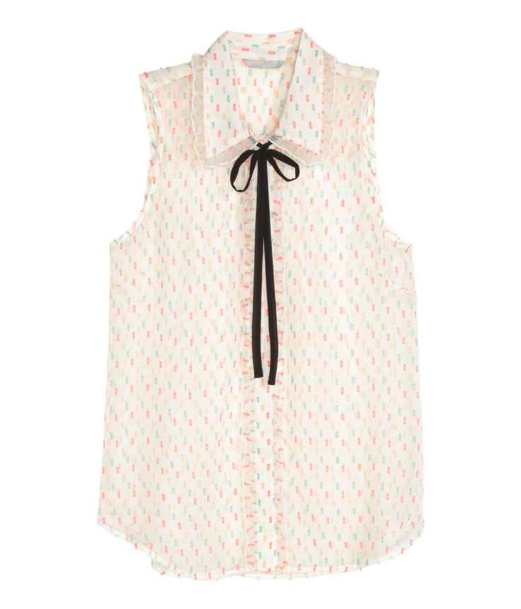 Mouwloze blouse van chiffon