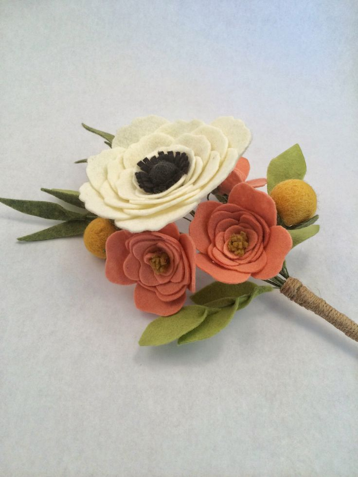 "Felt Flower Bouquet | ""Anemone & Roses"" 