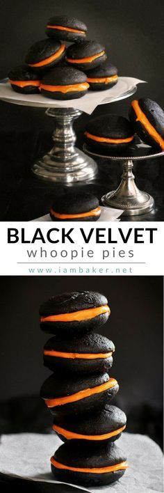 Serve an easy Halloween Recipe as a snack for your Kids with this Black Velvet whoopie, whoopie, in the form of pie! Just simply delicious! Pin this to your Halloween Recipes board. @iambaker #iambakerdessert #iambaker