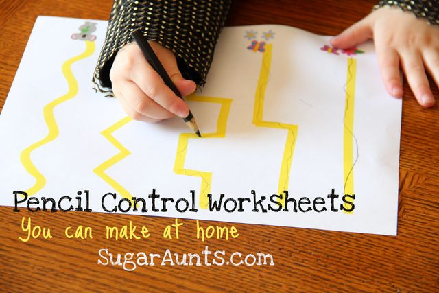 Sugar Aunts: Pencil Control Worksheets (You can make at home) Draw using highlighters - mark with green and red - good for developing left to right