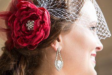 Scarlet Red Bridal Flower Hair clip, Wedding Hair Accessory, Fascinator, red bridal veil, Crystals, Bridal Head Piece.