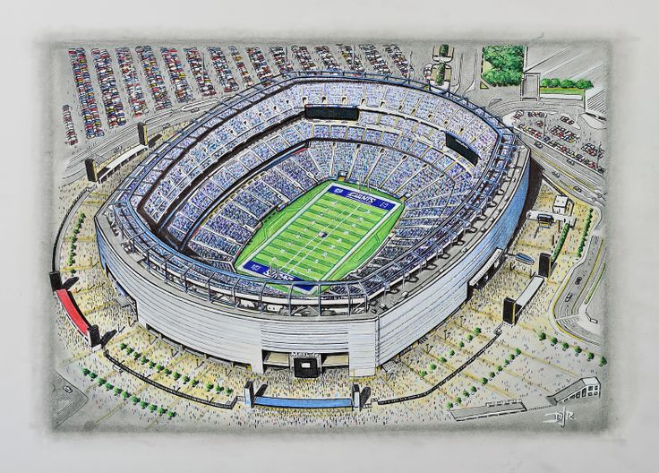 Stunning aerial view painting of the MetLife Stadium, home of the New York Giants NFL team. Merchandise available at www.sportsstadiaart.co.uk Prints Framed Prints Canvas Prints T-Shirts Mouse Mats Mobile Covers Puzzles Mugs Key Rings Fridge Magnets