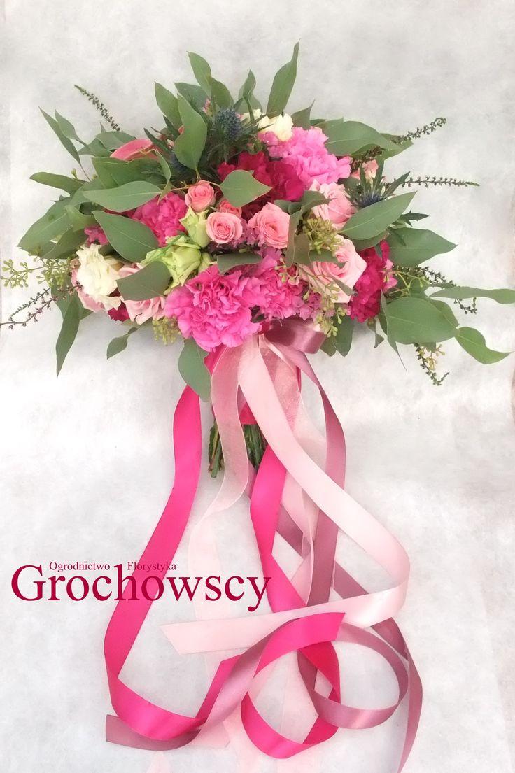 fuksjowy amarantowy różowy boho bukiet ślubny Człuchów #bohowedding #bohobouquet #boho #fuchsia #weddingbouquet #ribbons #wstążki