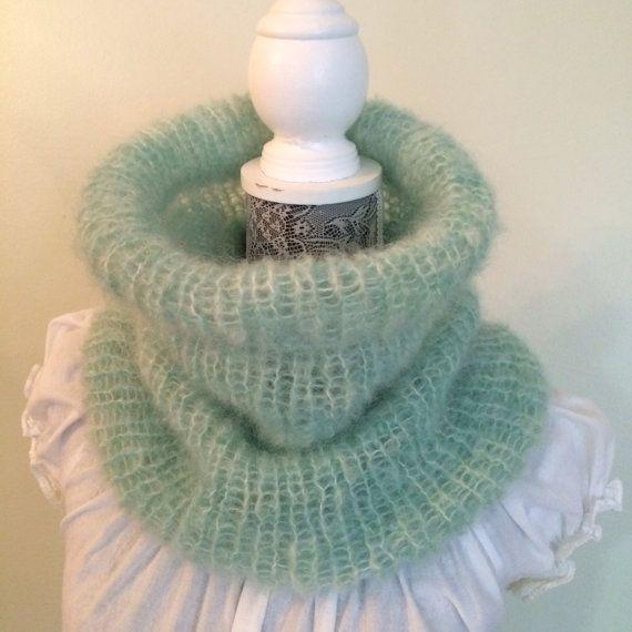 Mohair neck warmer,soft neck warmer,mint green cowl,women's neck warmer,lightweight cowl,warm neck warmer,hand knit cowl, gift for women