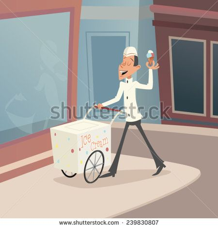 Happy Smiling Ice Cream Seller with Cart on street Retro Vintage Cartoon Character Icon Stylish Background Design Vector Illustration
