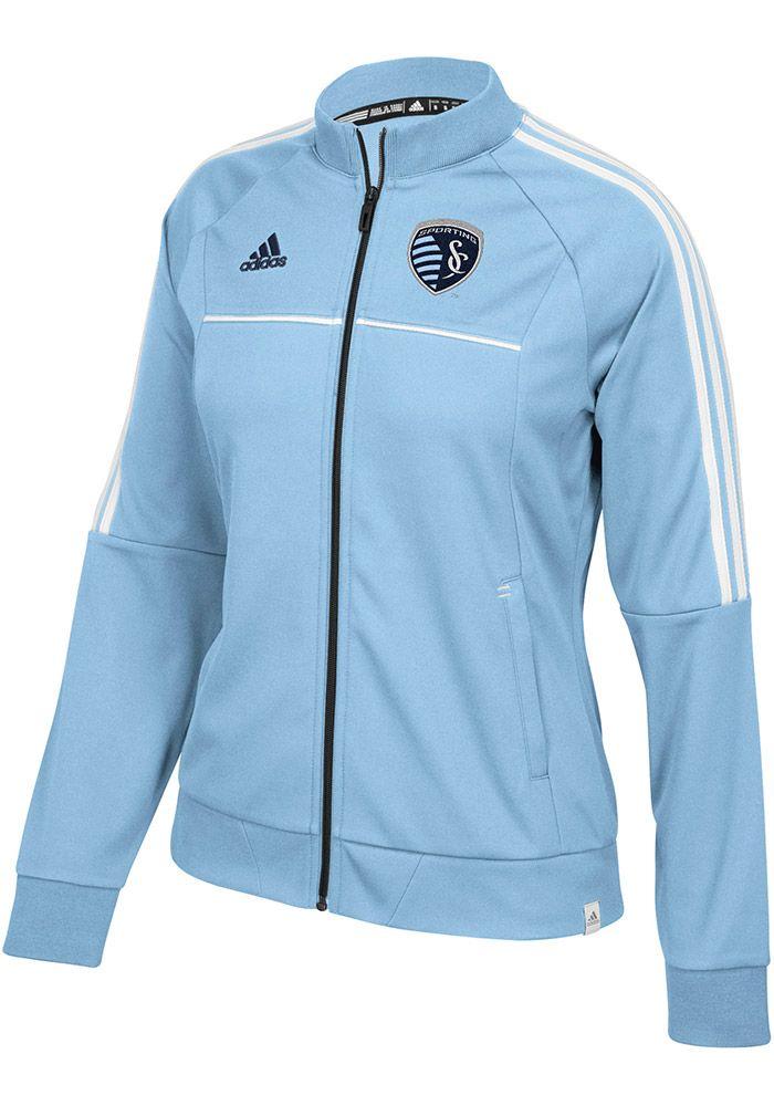 Adidas Sporting Kansas City Womens Light Blue Anthem Long Sleeve Track Jacket