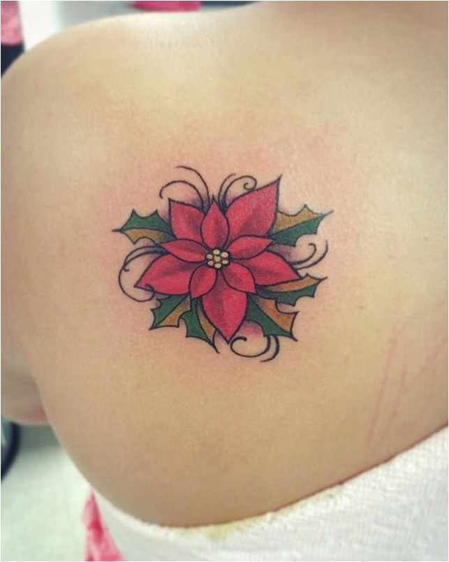 Poinsetta Tattoo Tattooinspiration Click To See More Christmas Tattoo Birth Flower Tattoos Small Hand Tattoos