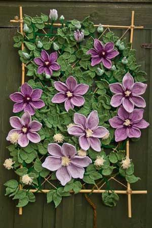 Crocheted clematis wall hanging
