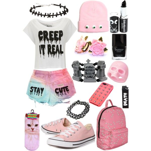 Creep It Real & Stay Cute ; Pastel Goth by ofmiceandvampiraydg on Polyvore featuring Paul's Boutique, Converse and Material Girl