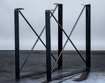 "SET of 2, Metal Coffee Table Legs, ""U"" Shaped Industrial Steel Table Legs with ""X"" Steel Rod Cross Pieces"