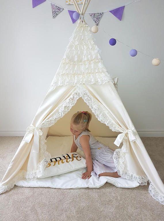 size 40 48654 bb852 Boho Ivory Frills Trim, Lace kids teepee tent PRINCESS Tipi ...
