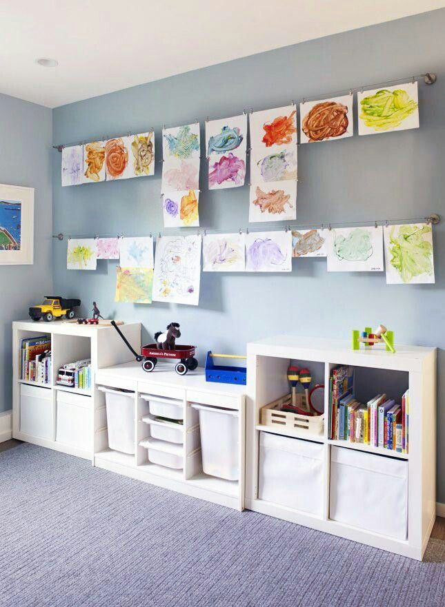 Toy's storage and lines to hang pictures