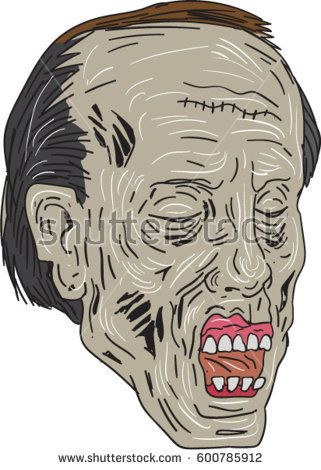 Drawing sketch style illustration of a zombie skull head with eyes closed in a three-quarter view set on isolated white background.   #zombie #drawing #illustration