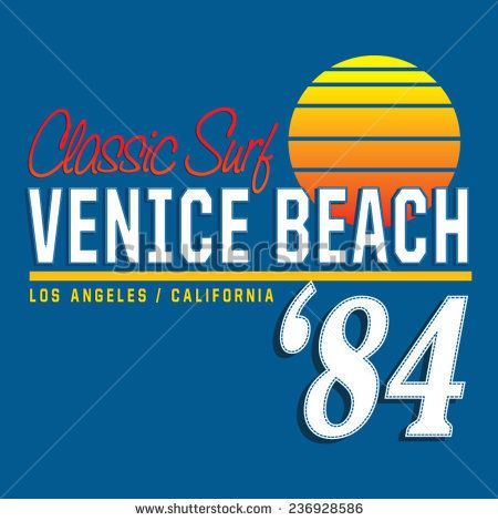 Venice beach typography, t-shirt graphics, vectors