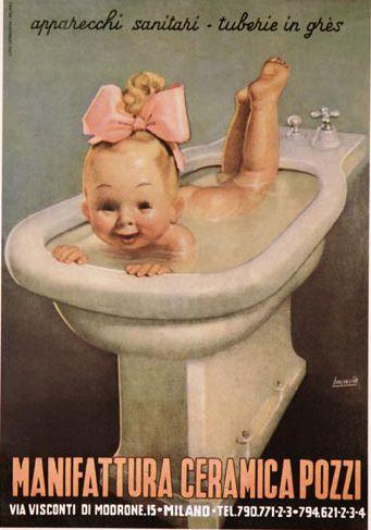 ✔️ by Gino Boccasile (1901-1952), Manifattura Ceramica Pozzi, Milano.