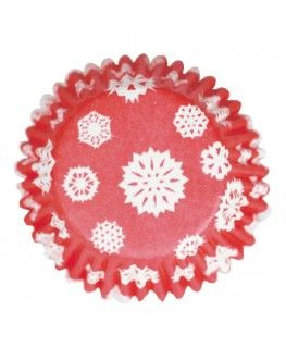 54 Red Snowflake Printed Baking Cases