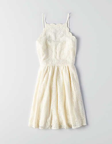 AEO Scallop Lace Fit & Flare Dress, Cream | American Eagle Outfitters