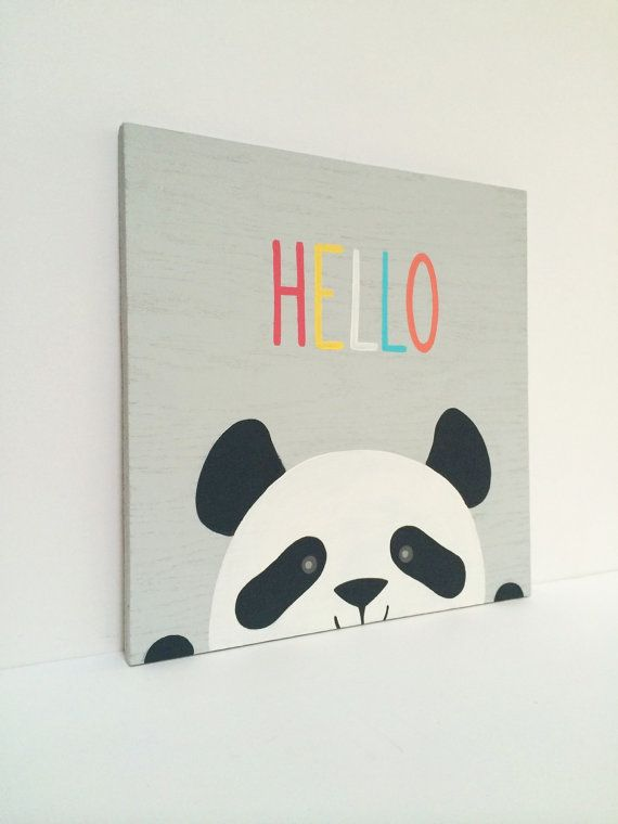 Hand Painted Hello Nursery Sign Modern Panda by SweetBananasArt