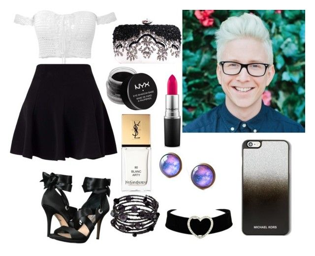 """""""day out with Tyler"""" by kain-loves-shawn ❤ liked on Polyvore featuring Oakley, Miss Selfridge, Nina, MAC Cosmetics, NYX, Yves Saint Laurent, MICHAEL Michael Kors and 1928"""