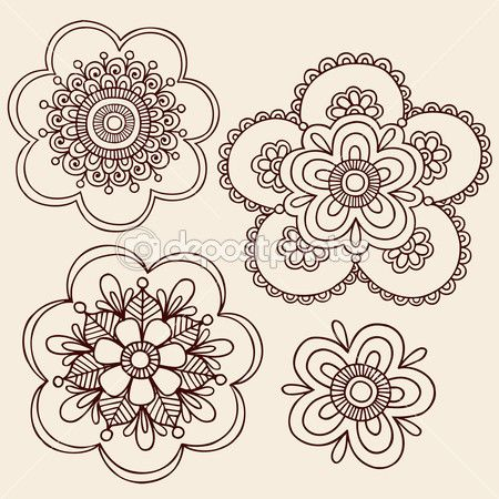 Henna Mehndi Mandala Flowers Doodle Vector Design — Stock Illustration #8248580