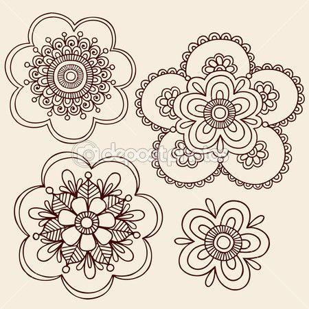 Henna Mehndi Mandala Flowers Doodle Vector Design — Stock Illustration #8248580