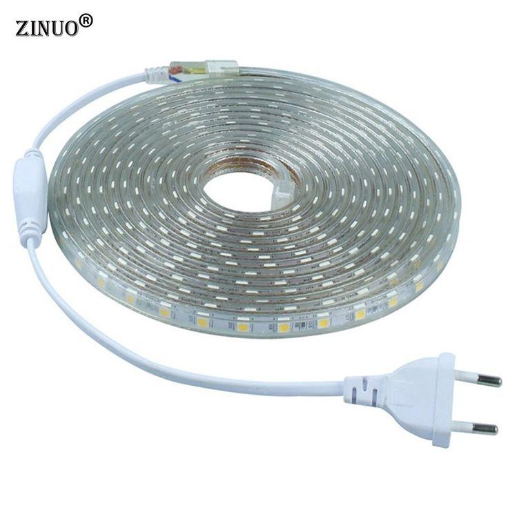 ZINUO 220V 5050 Flexible Led Strip Light 1M/2M/3M/4M/5M/6M/7M/8M/9M/10M/15M/20M+Power Plug,60leds/m IP65 Waterproof led Ribbon www.peoplebazar.net    #peoplebazar
