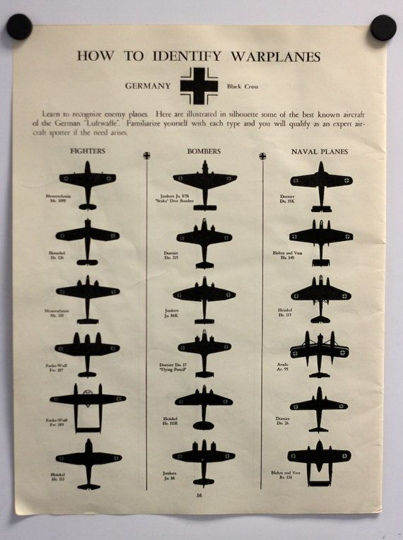 Vintage chart illustrating the warplanes of Germany and Great Britain from World War II. German fighters, bombers, and naval planes are shown on one