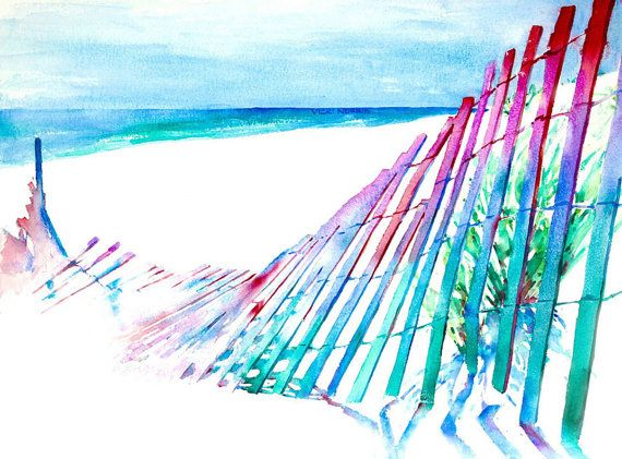 Croatan Beach     24 x 18      Colorful rhythm by VickiNorrisArt, $95.00